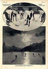 Eishockey bei Mondschein auf dem St. Moritzer See u.langen kanadischen Stock1908