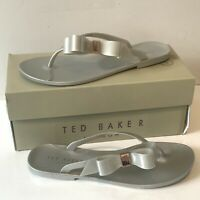 Ted Baker Grey Bow flip flops Silver Jelly Sandals Size UK 6 EUR 39