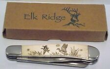 "KNIFE, ELK RIDGE ER-220DK, FOLDER, 4"" CLOSED, LASER DUCK ARTWORK, ADULT, UNISEX"