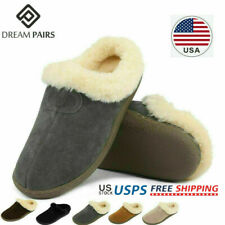 DREAM PAIRS Women Suede Sheepskin Faux Fur Slippers Slip On Comfort House Shoes