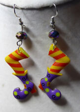 WITCH Purple Boot Shoes SCARY 925 EARRINGS Bling Bead HALLOWEEN Nora's USA