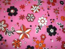 Flowers Polka Dots Pink White Black Cotton Quilt BTY
