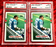 1989 TOPPS TRADED #83T BARRY SANDERS RC ROOKIE LOT OF 2 PSA 10