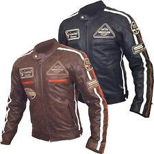 Leather Vintage Harley Style Motorcycle Motorbike Armoured Protection Jacket