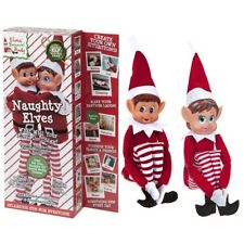 "12"" Pack of 2 Sitting Elf Girl & Boy Christmas Naughty Toys Shelf Decoration"