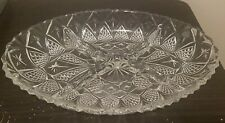"""Vintage Lead Crystal Cut Glass Oval Relish Serving Dish Tray Divided 11"""" x 7.5"""""""