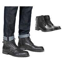 Jack & Jones Mens Casual Ankle Chelsea Biker Buckle Lace Up Boots Shoe Size 6-11