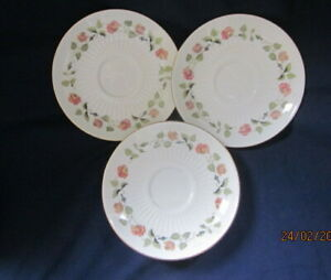 WEDGWOOD INDIA ROSE 3 x TEA SAUCERS 14½CM VERY GOOD CONDITION