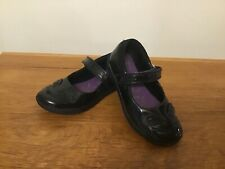 Clarks Girls Binkies Black School Shoes Size 7 E Very Good Condition