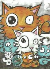 Cartoon Kitty Cats surreal Funny lowbrow two sided Fantasy ACEO PRINT art ejw