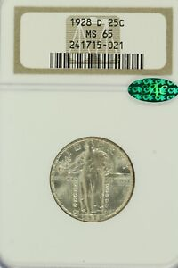 1928-D Standing Liberty Quarter : NGC MS65  CAC  Sticker