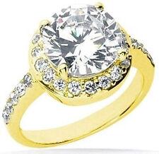 1.94 carat, 1.50 ct center Round Diamond Halo 14k Yellow Gold Solitaire Ring