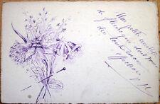 1914 Hand-Drawn, Original Art Postcard - Flowers in Purple Ink