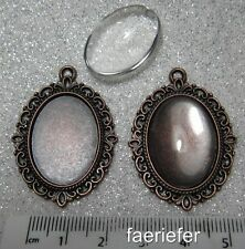 2 copper picture setting oval pendant frames glass domes 18 x 25 mm cabochons