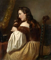 No framed Oil painting female portrait young noblelady in her toilette & mirror