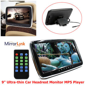 "9"" Ultra-thin Car Headrest Monitor MP5 Player Mirror Link HD Video Screen HI-FI"