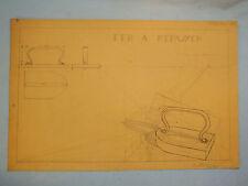 ETUDE SIGNEE SENAULT N°16 FER A REPASSER PLANCHE TRAVAIL BEAUX ARTS ART DECO