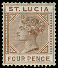More details for st. lucia sg34, 4d brown, m mint. cat £50.
