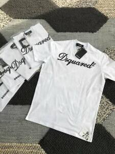 BNWT DSQ /DSQUARED2 T-shirt in White Raised leather stitch logo detail SMALL