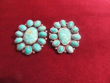Genuine Turquoise Zuni Style Cluster Clip-On Earrings