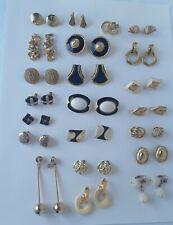 LOVELY Vintage Estate Clip Earrings Lot Monet Gold tone enamel 22 pairs  pierced