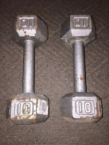 Pair of 10lb pound hex shaped metal dumbells