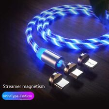 3in1 Magnetic Charging Cable LED Light Charger Type-C Micro USB for iOS Android