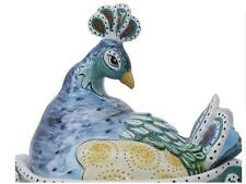 Peacock Bird Cookie Jar Canister Ceramic No Decal Blue Sky NIB