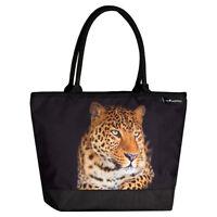 Schultertasche Umhängetasche Shopper Dame Motiv Raubkatze Exotisch groß Leopard