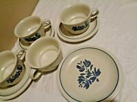 LOT OF 8 PCS PFALTZGRAFF YORKTOWNE BLUE SET: 4 CUPS & 3 SAUCERS & 1 BREAD PLATE