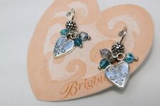 NWT Brighton Ophelia Silver Heart With Blue, Green & Gray Crystal  Wire Earrings