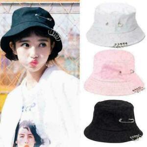 Unisex Punk Harajuku Cotton Bucket Hat Metal Pin O-Rings Hip Cap. Hop S8X7 X5E6