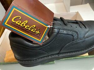 Cabela's 82-1079 Black Pebbled Leather Vibram Wedge Walking Shoes Men's 13 E NIB