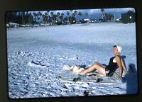 1959 Kodachrome Photo slide  Lady at beach sunbathing swimsuit