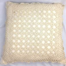 Vintage Crochet Lace Throw Pillow Cottage Chic Square Shaped