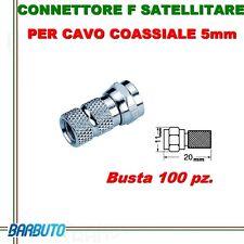 100 CONNETTORI  F SATELLITARE PER CAVO COASSIALE 5 mm - BUSTA 100 PZ.