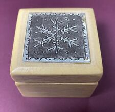 Decorative Wood Box With Etched Metal Snowflake Lid