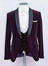 Men Purple Velvet Suit Designer Wedding Tuxedo Party Wear Suit (Coat+Pants+Vest)