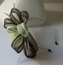 Brown/pale green fascinator on headband for wedding/bride/mother of the bride