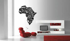 Wall Vinyl Sticker Room Decals Mural Design Africa Map Continent Flowers bo1245