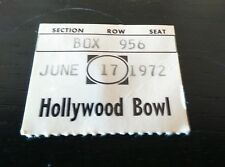 Grateful Dead Ticket 1972  Pigpen Last show Hollywood Bowl California