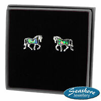 Horse Earrings Paua Abalone Pony Shell Womens Womens Silver Jewellery Gift Boxed