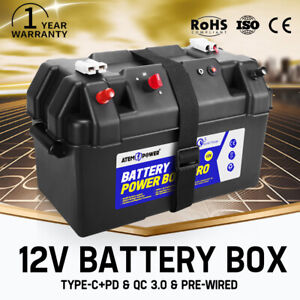 12V Large Battery Box Universal For Deep Cycle AGM Batteries Adjustable