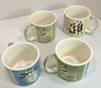 4 Eddie Bauer Noel Mugs Large 16 Oz Christmas Holiday Coffee Hot Chocolate Cups