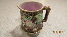Rare Antique  Majolica Pitcher Green Leaves Purple Flowers on Brown