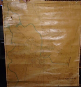 B.F. Hathaway MAP OF GRANVILLE, WASHINGTON CO. NEW YORK 1894 Very Good 42x37