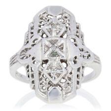 Single Cut Diamond-Accented Ring - 10k White Gold Filigree Design Women's