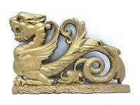 Vintage DRAGON Cast Iron Bronze Gold Tone Metal Goth Gothic Asian Wall Hanging