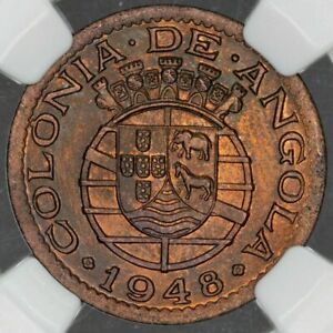 1948 ANGOLA 20 CENTAVOS NGC MS64RB ONLY 5 GRADED HIGHER
