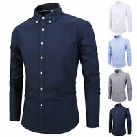 Men's Fashion Oxford Dress Shirt Casual Slim Fit Long Sleeve Button Down Tops.